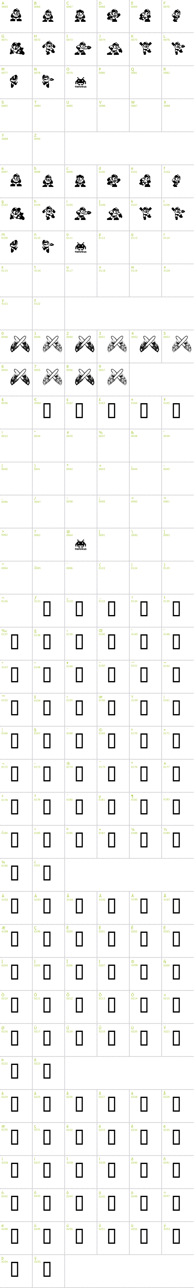 Megaman Font Full Character Map Dailyfreefonts Com