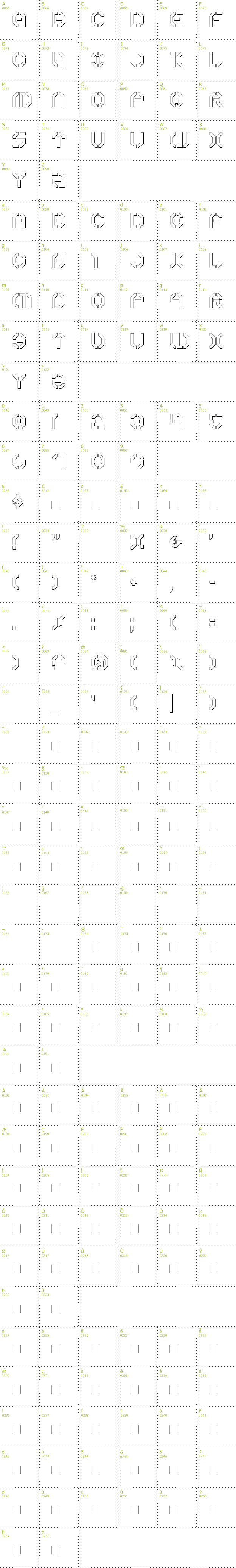 Full CharMap: Year 3000 Outline font