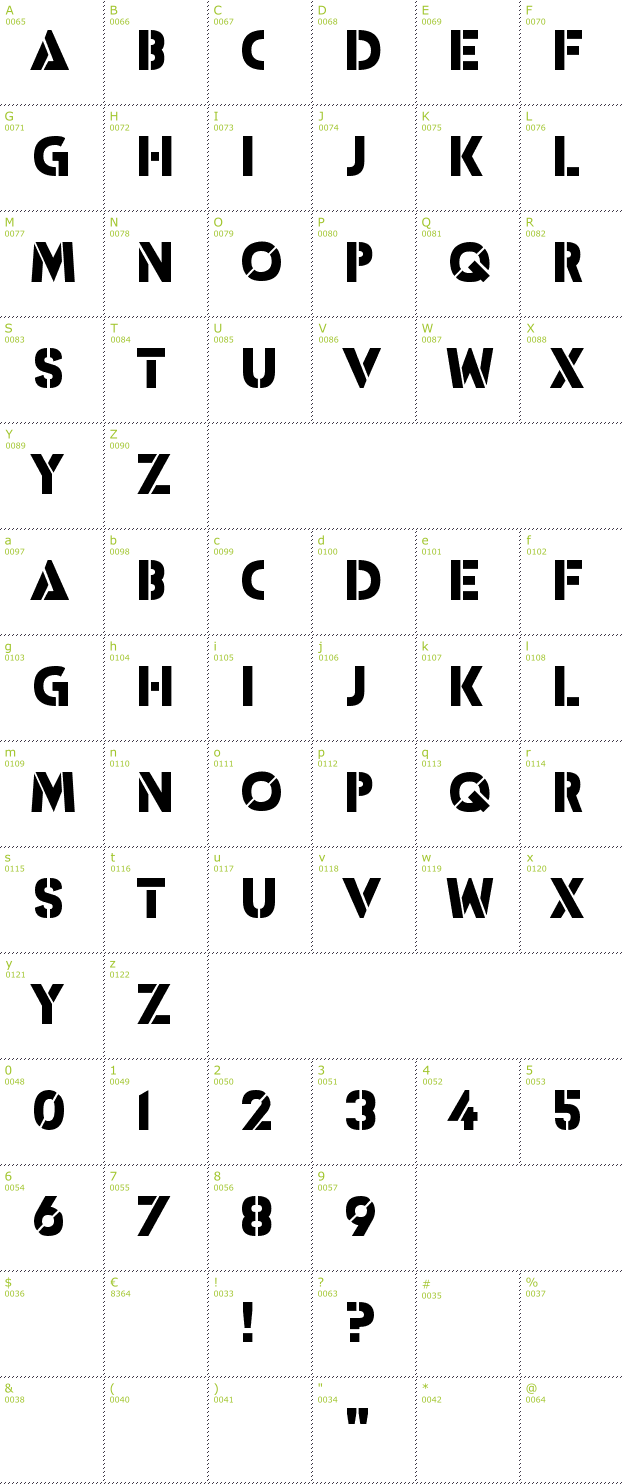 Character Mini-Map: ICBM SS-20 font
