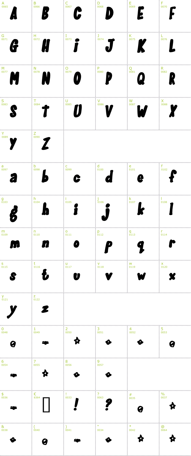 Character Mini-Map: Gloo Gun font