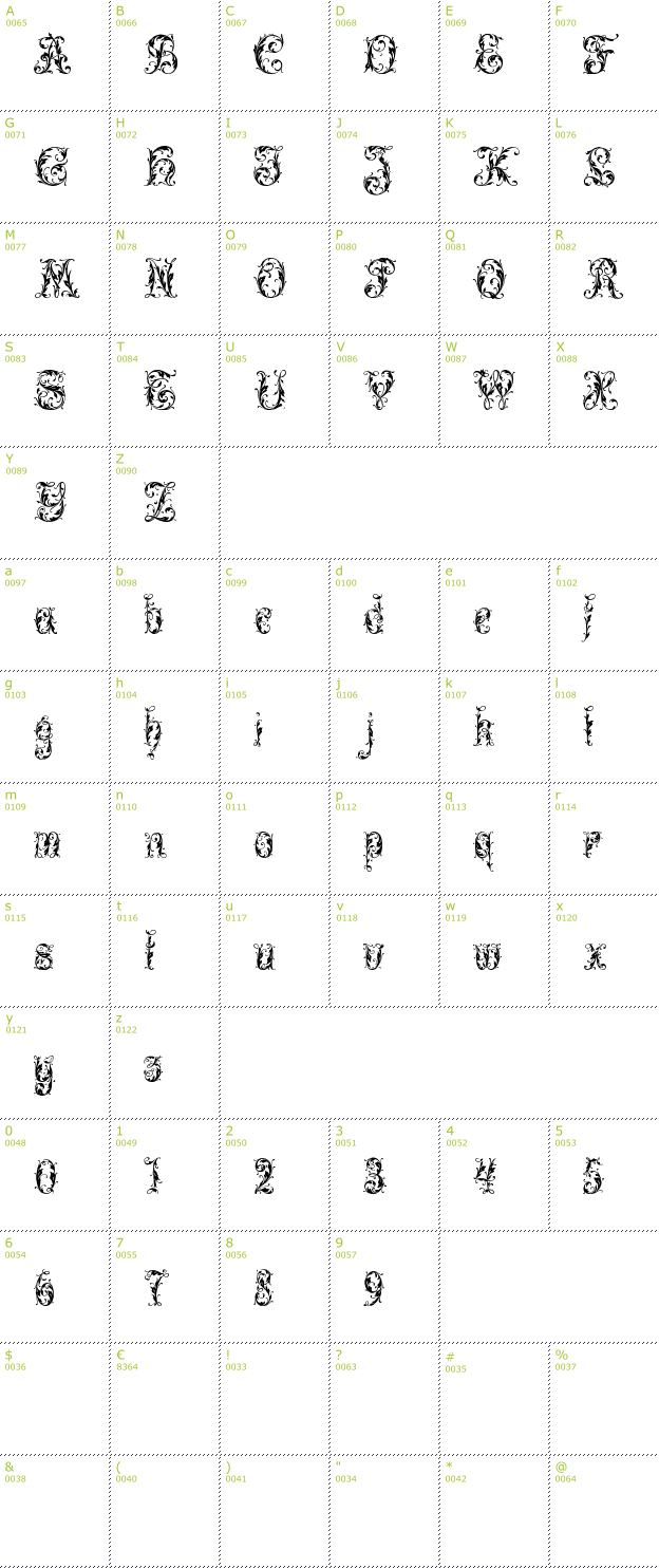 Character Mini-Map: Leafy Glade font