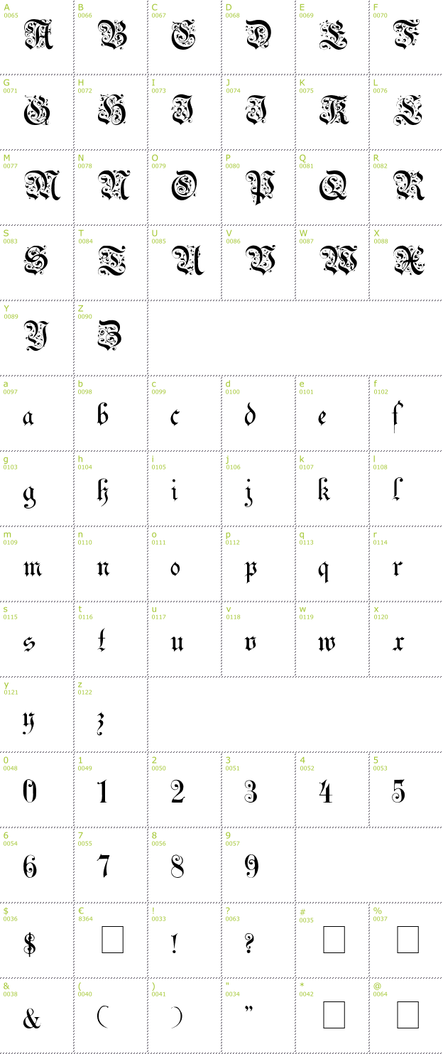 Uechi gothic font info details inclusive preview sler and charmap