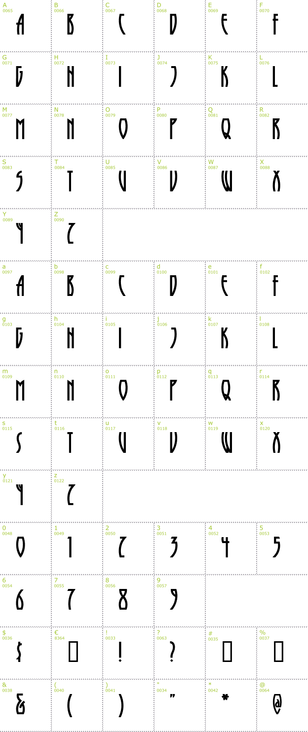 Character Mini-Map: Runy Tunes Revisited font