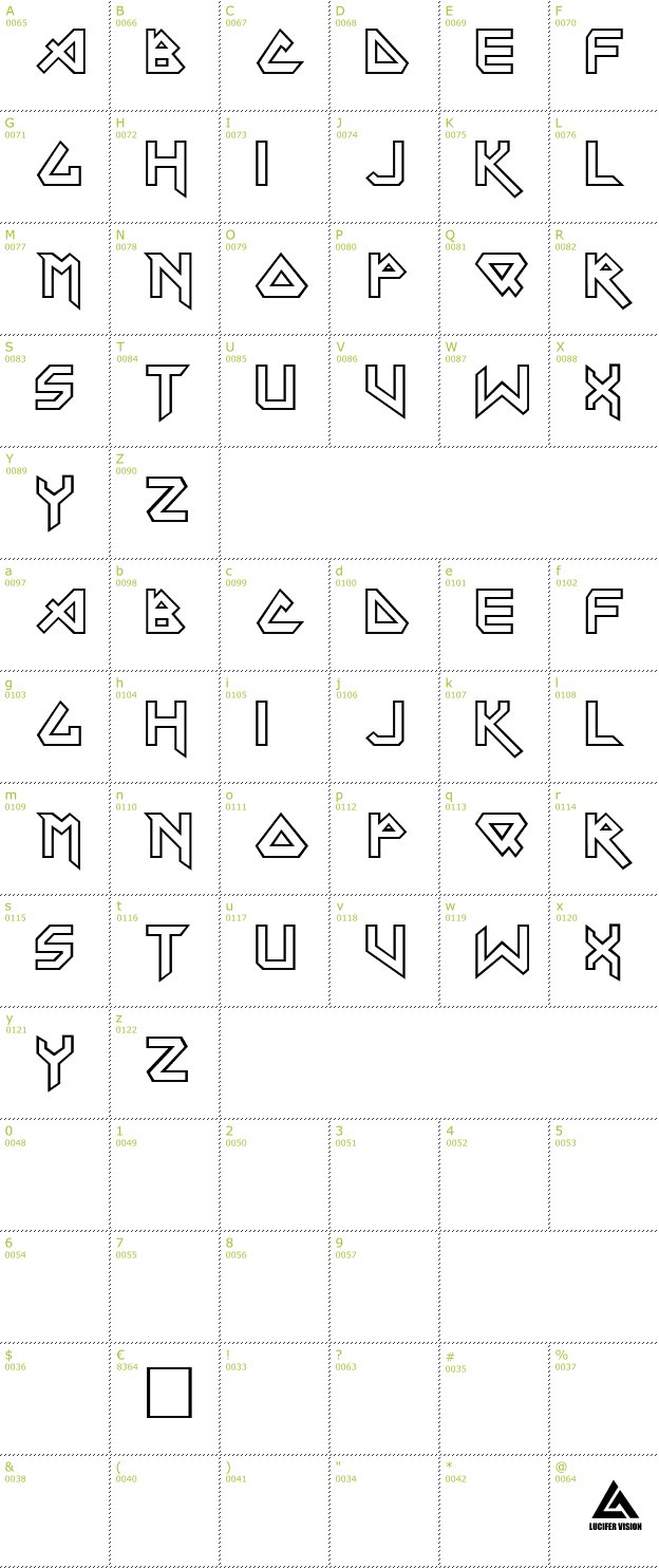 Character Mini-Map: Iron Maiden font