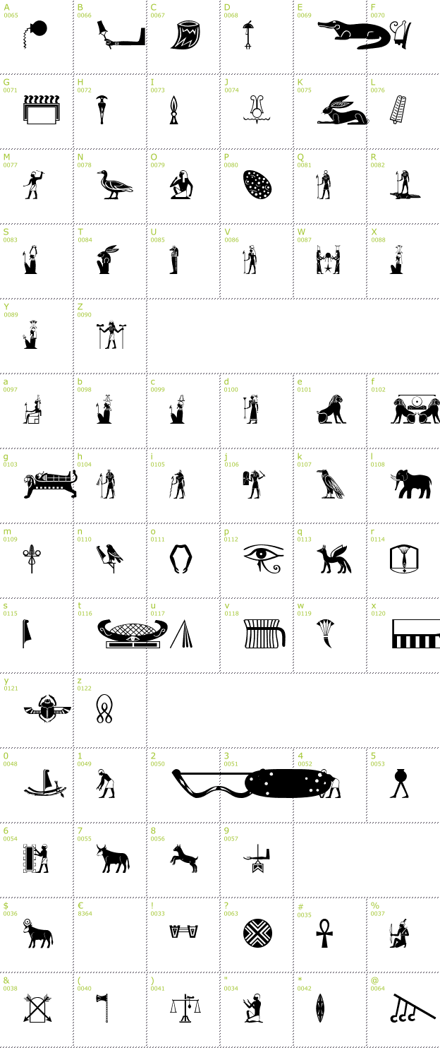 Ancient Glyphs Old egypt glyphs font