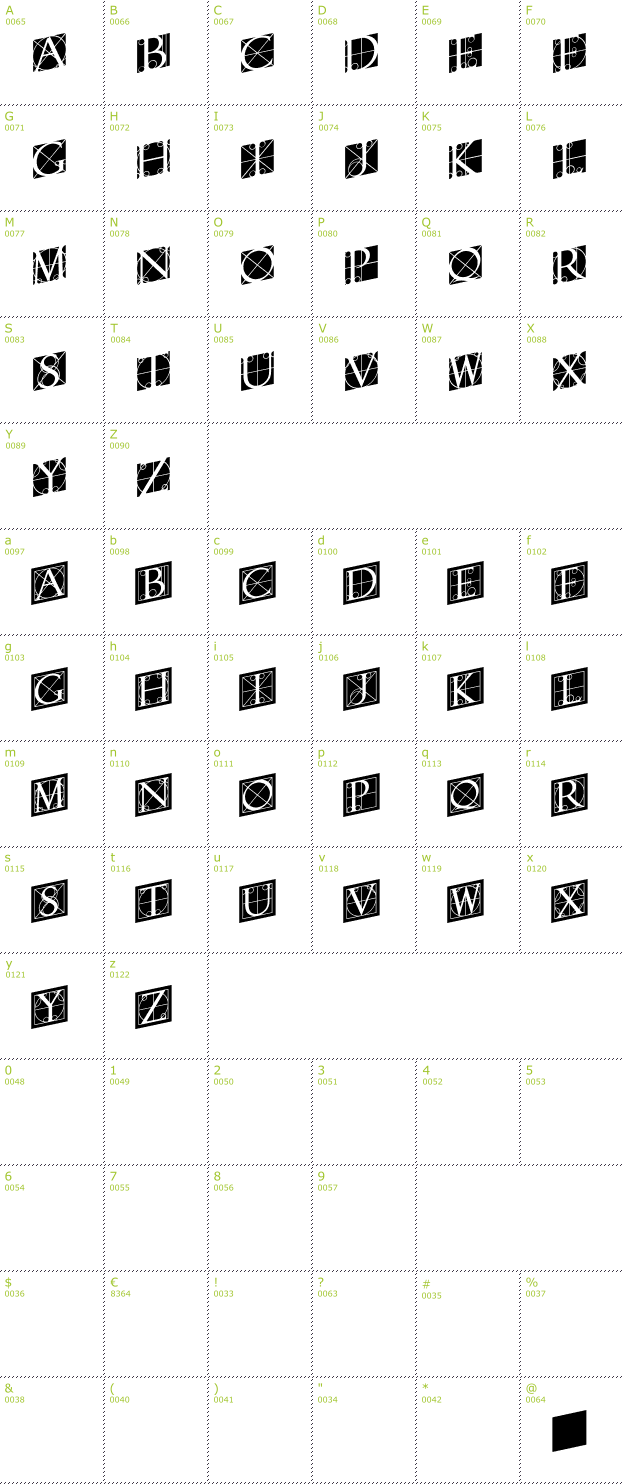 Character Mini-Map: Rodgauer Two font
