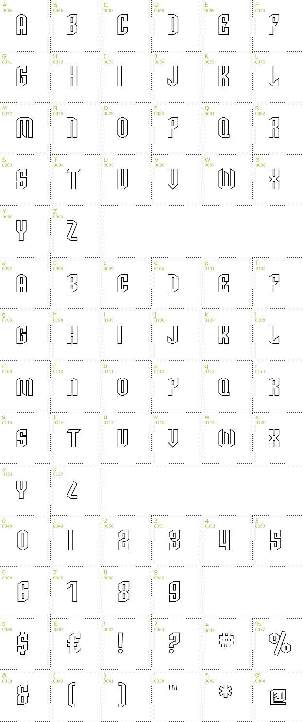 Character Mini-Map: SF Archery Black SC Outline font