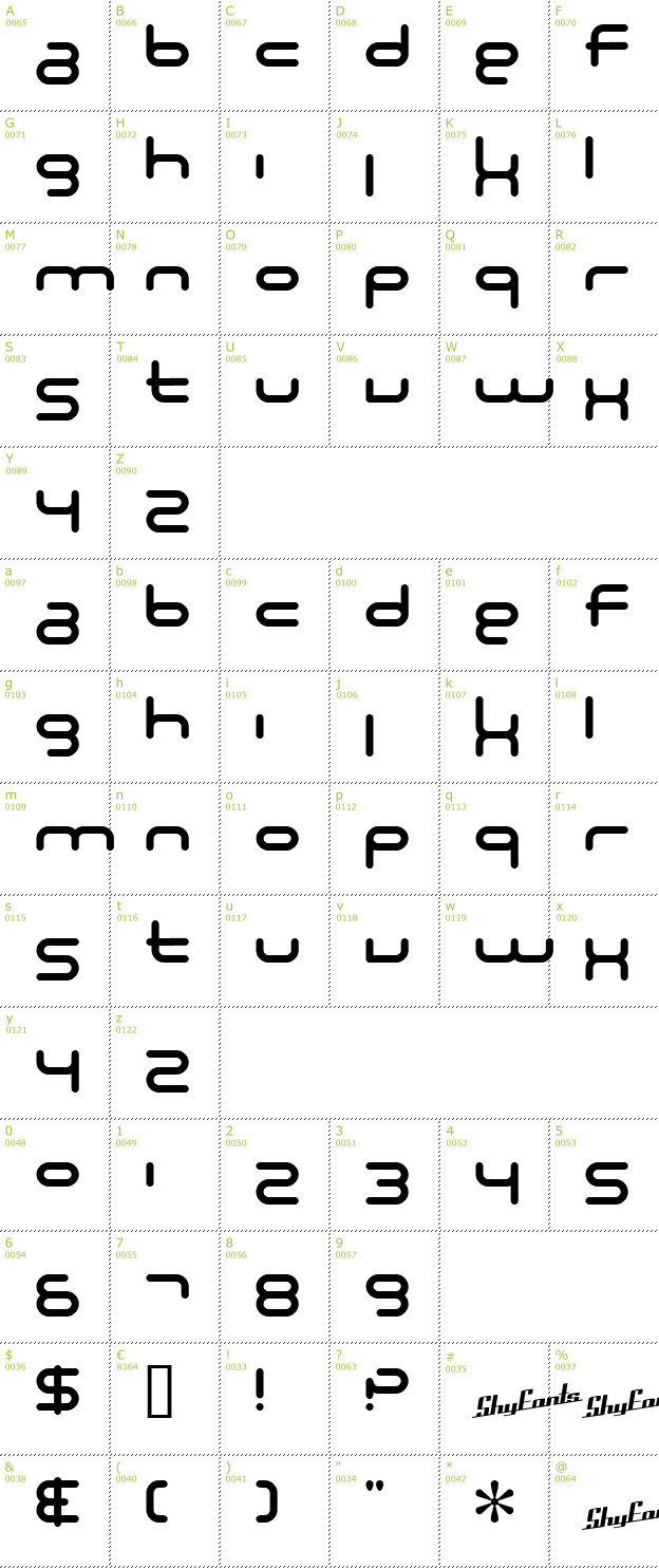 Character Mini-Map: SF Technodelight NS font