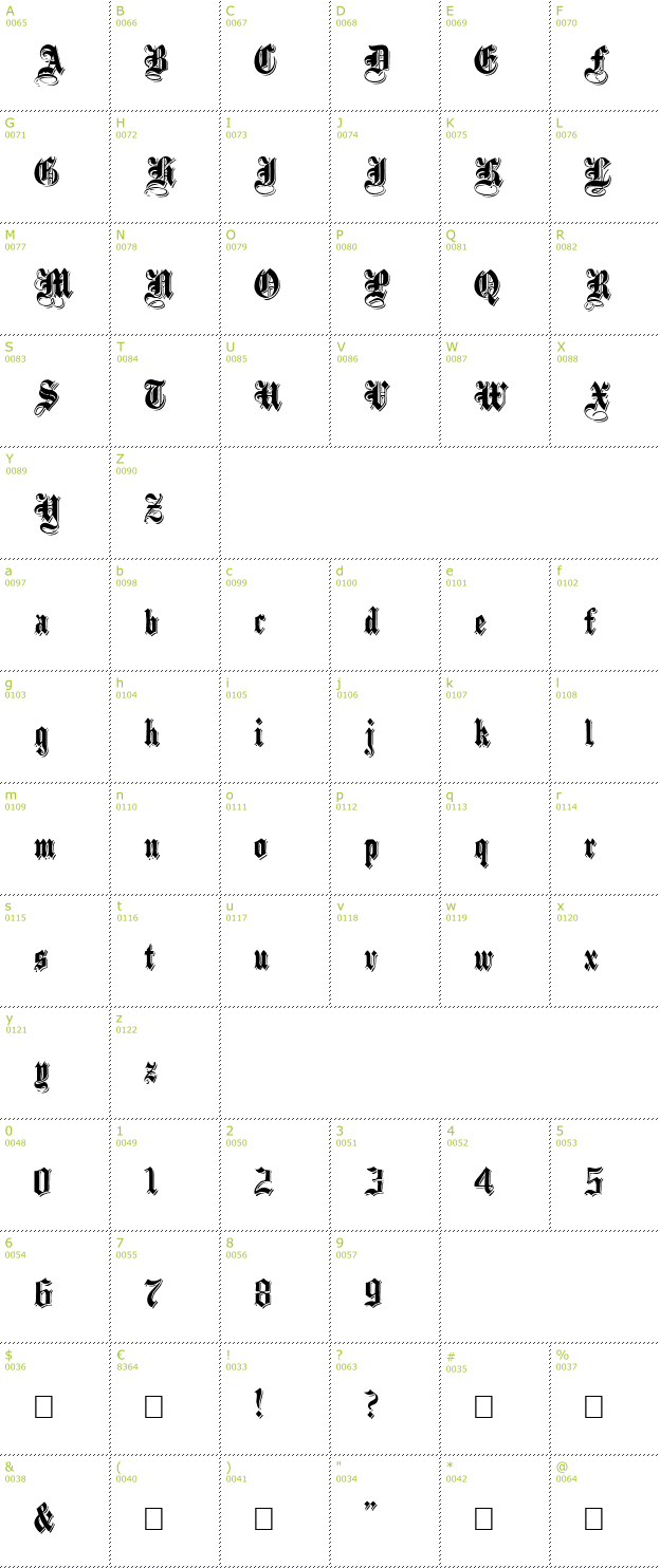 Character Mini-Map: Black Family Shadowed font