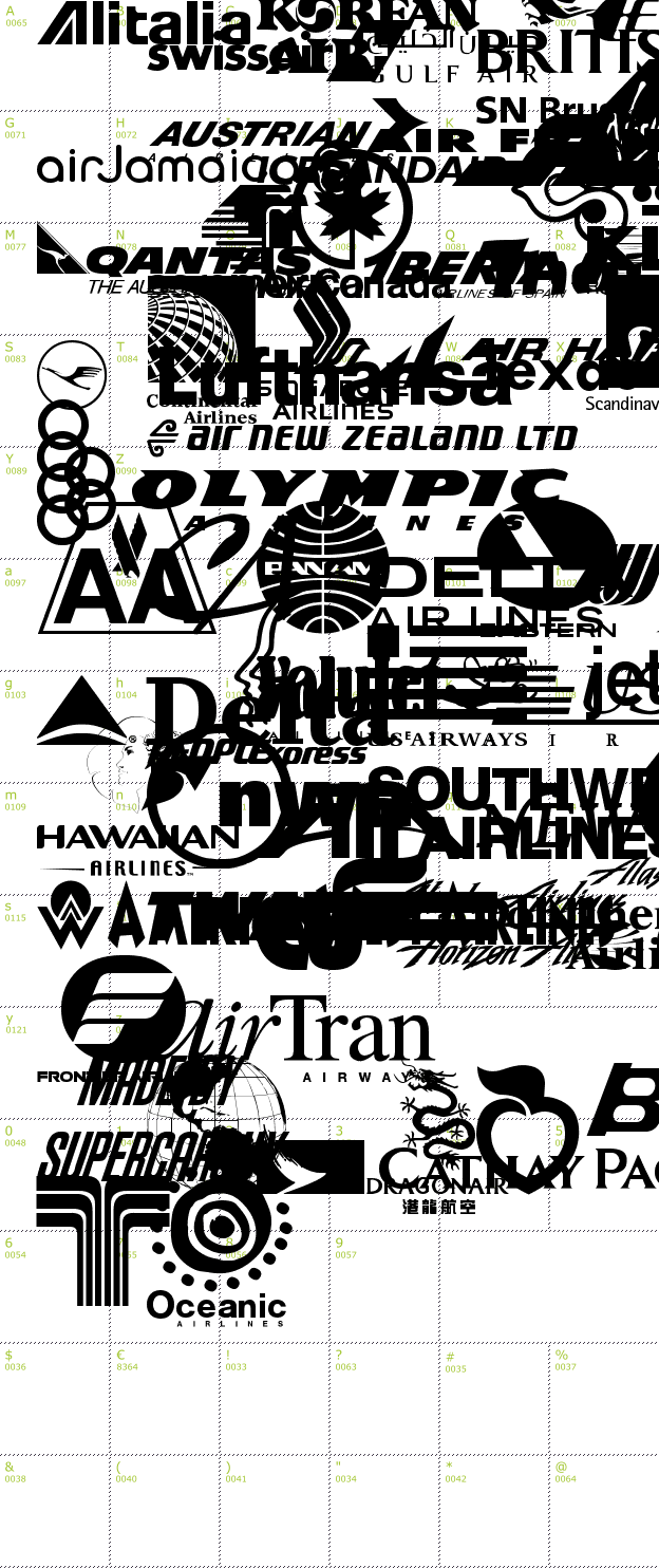 Character Mini-Map: Airline Logos Past and Present font
