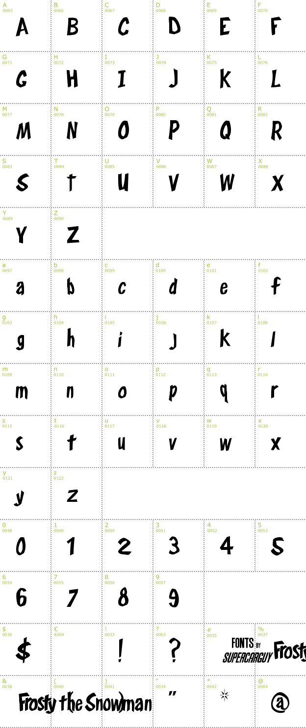 Character Mini-Map: Frosty's Winterland font