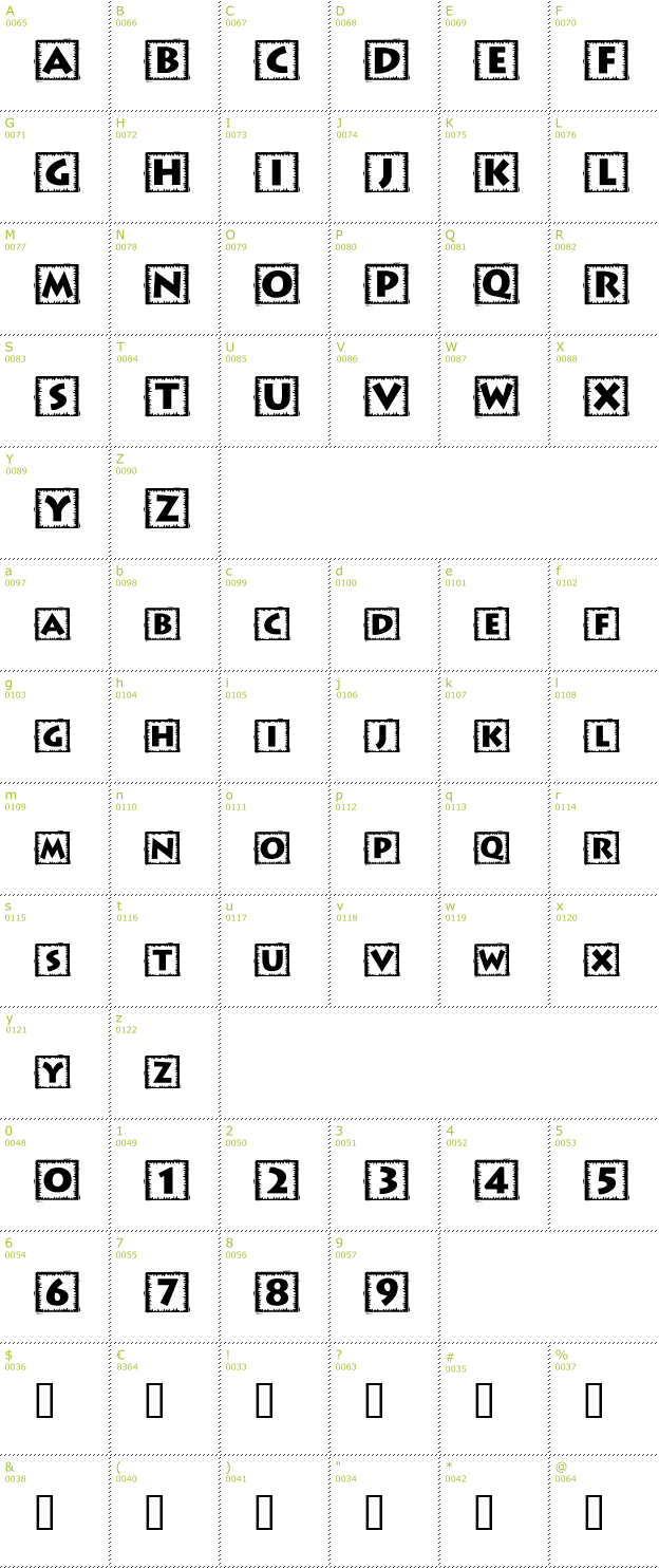 Character Mini-Map: Taco Box font