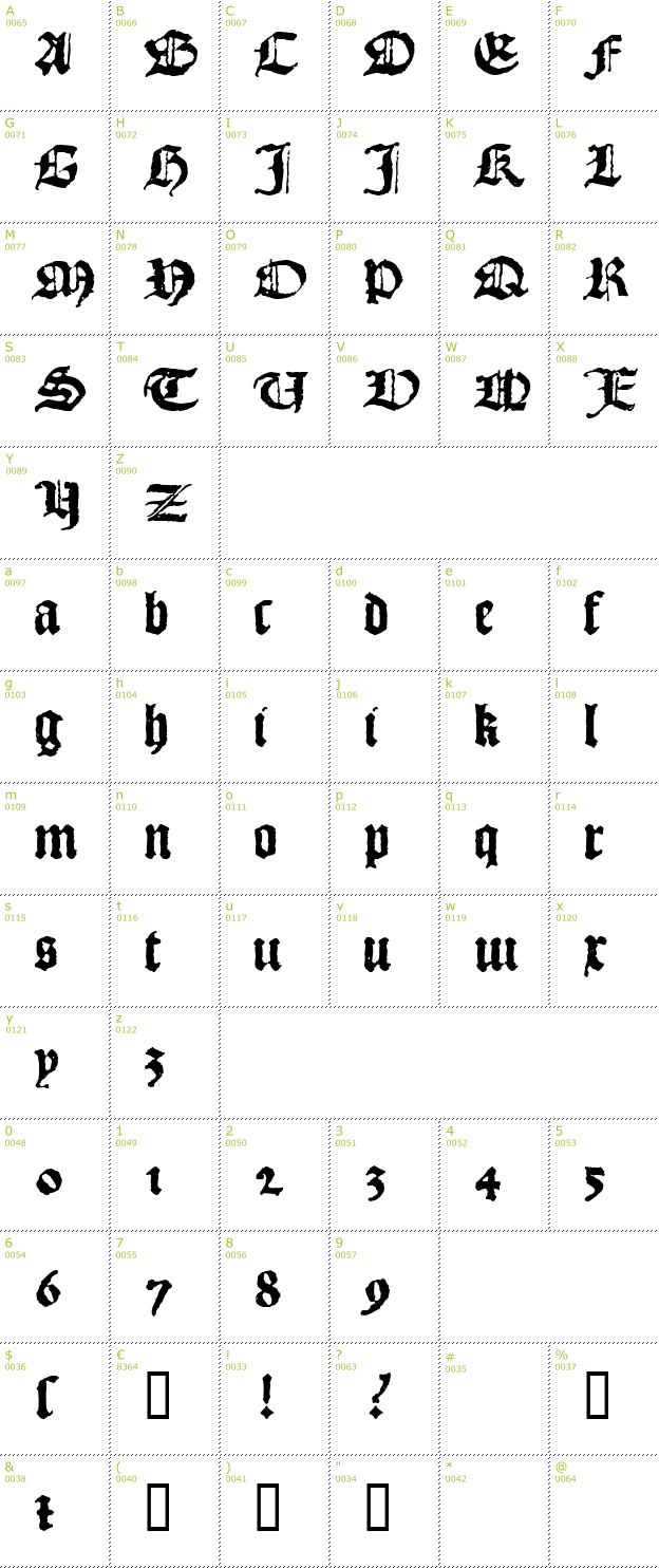 Character Mini-Map: 1492 Quadrata Lim font