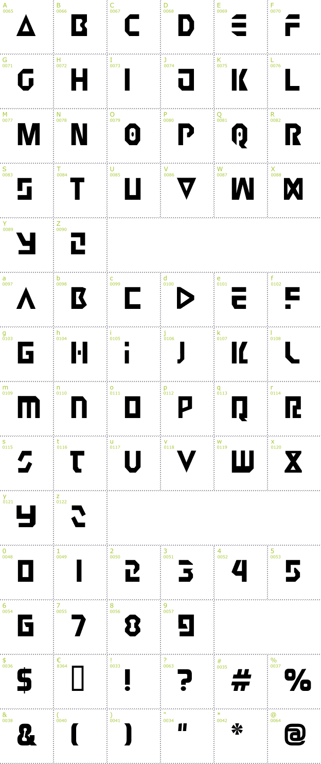 Character Mini-Map: Judge 2 font