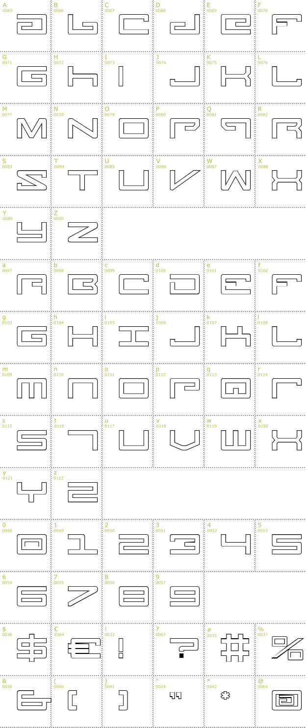 Character Mini-Map: Legion Outline font
