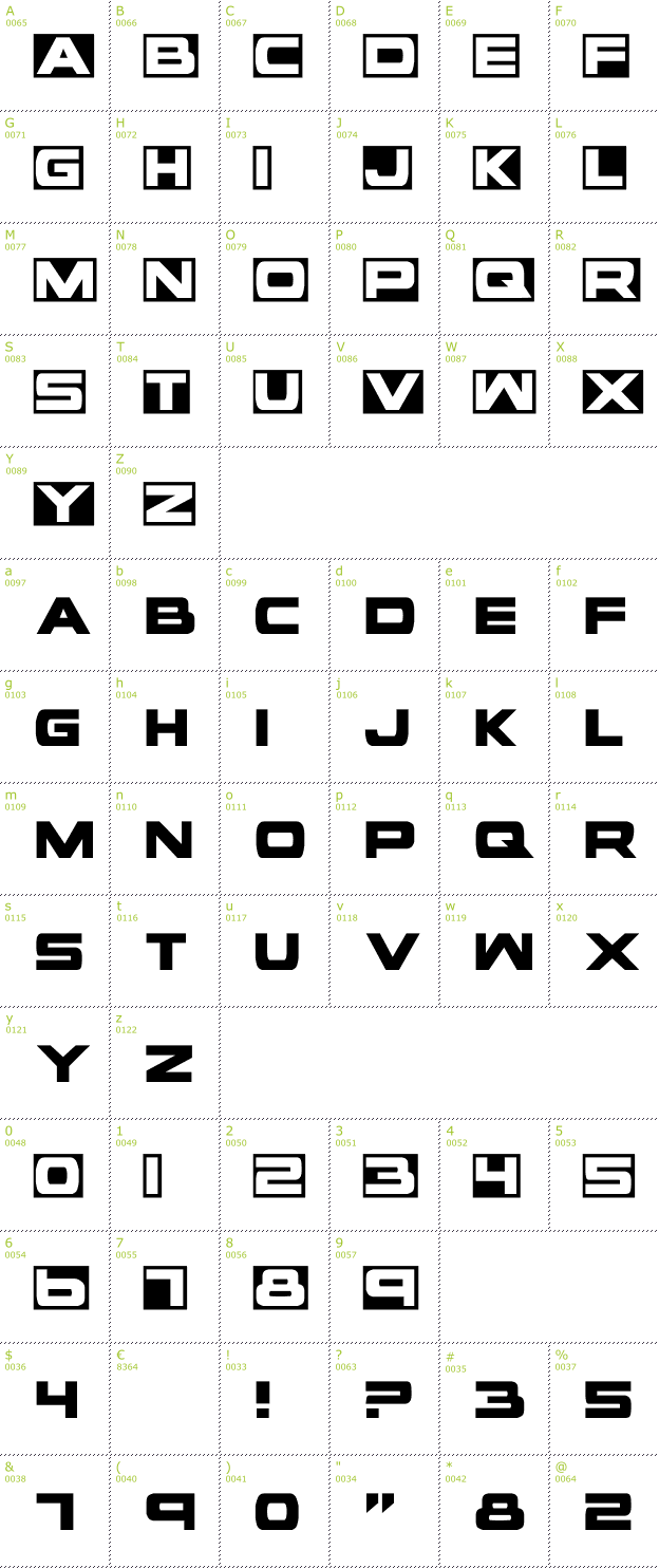 Character Mini-Map: Voxbox font