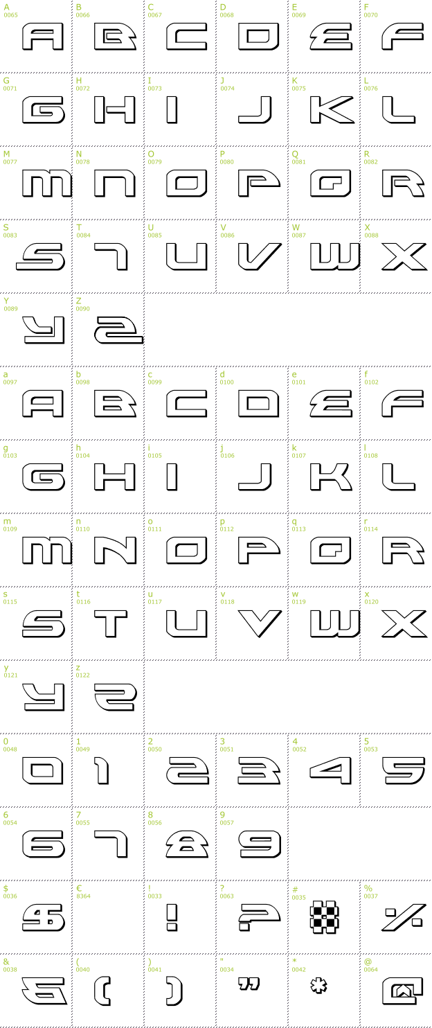 Character Mini-Map: Alexis 3D font