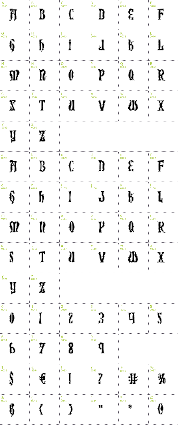 Character Mini-Map: Xiphos College font