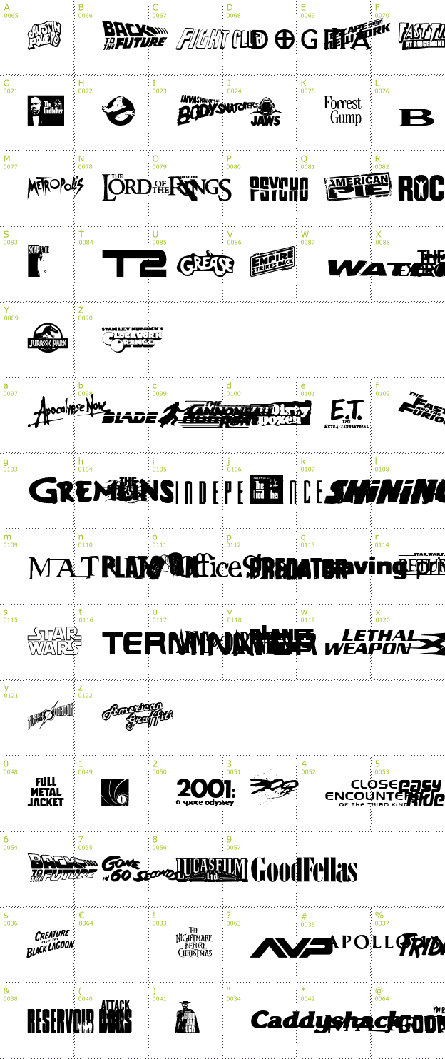 Character Mini-Map: Movie Gallery font
