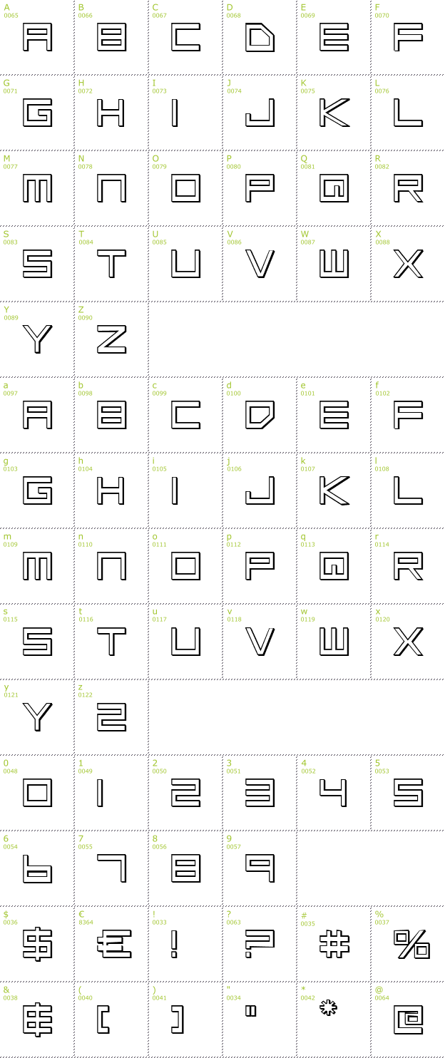 Character Mini-Map: Low Gun Screen Outline font