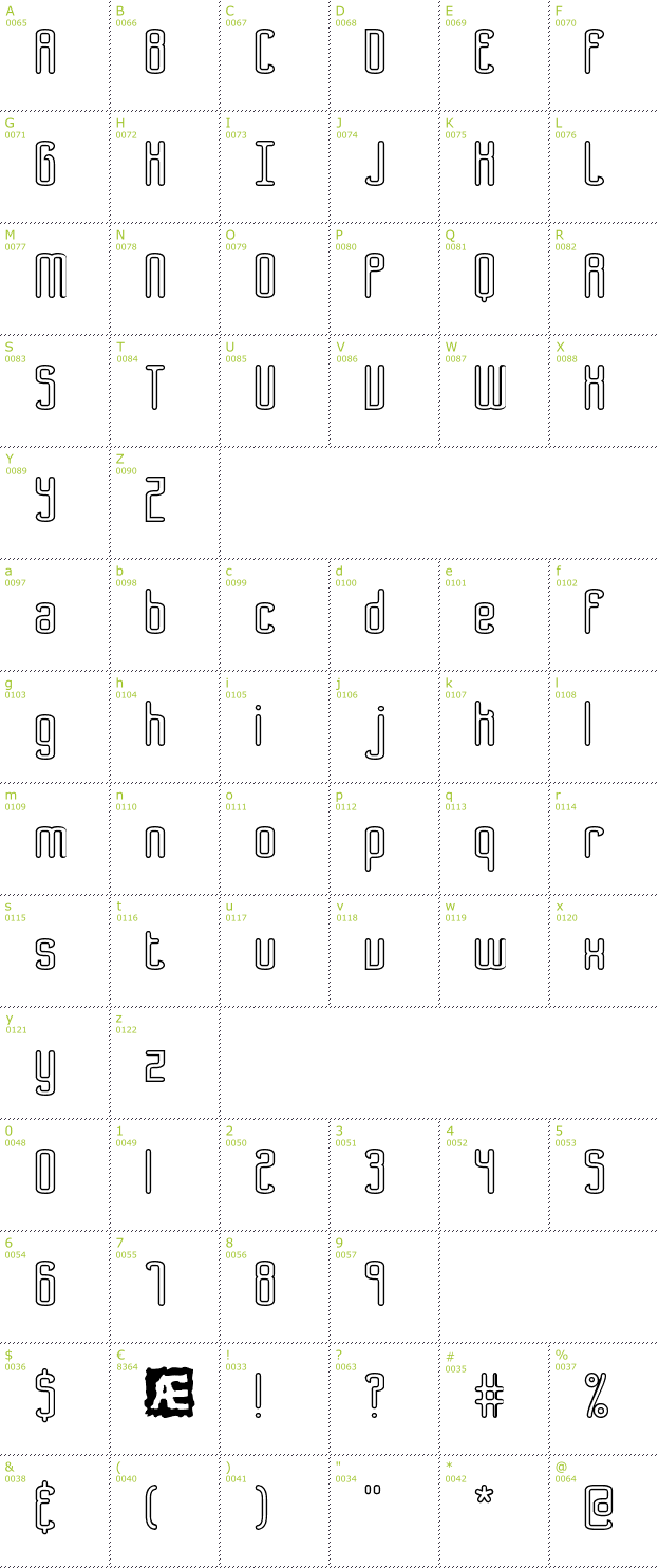 Character Mini-Map: Bend 2 Squares OL1 BRK font