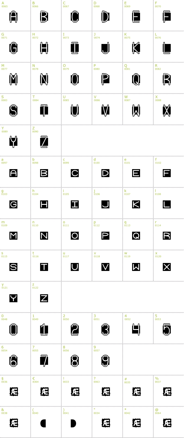 Character Mini-Map: Grudge BRK font