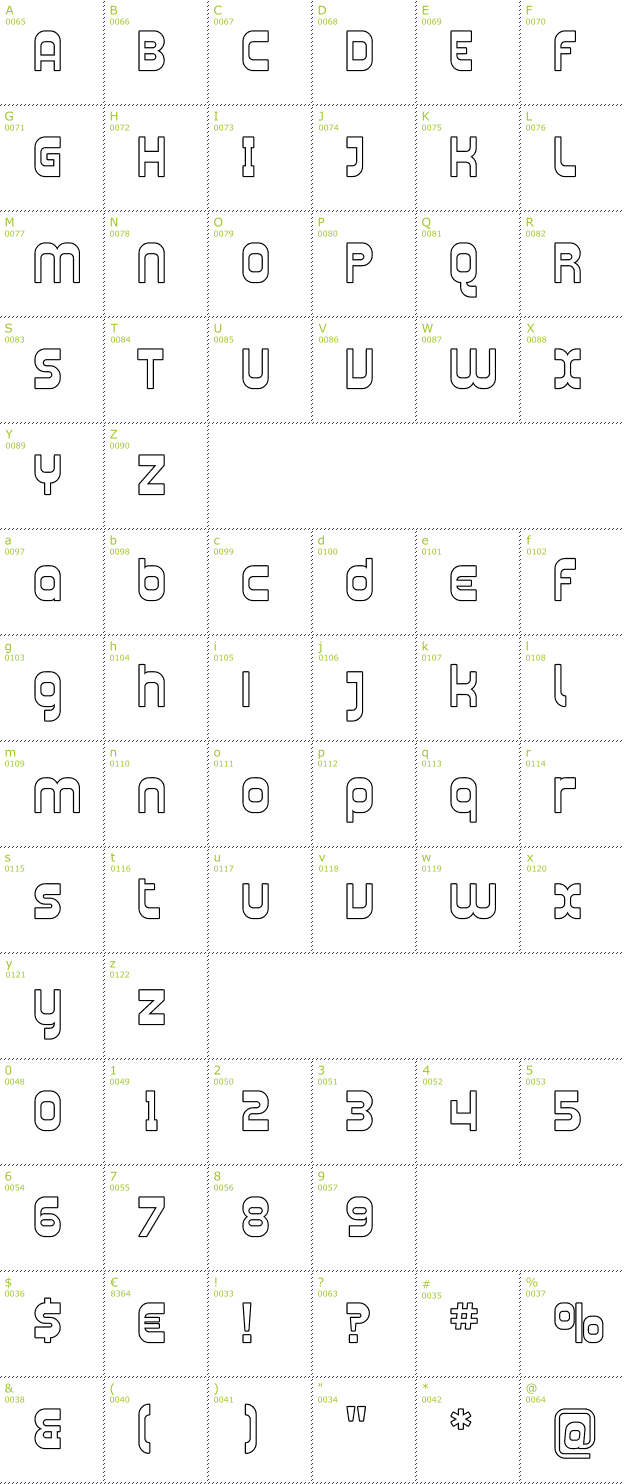 Character Mini-Map: Plasmatica Outline font