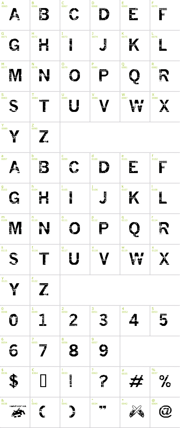 Character Mini-Map: Insomnesia font