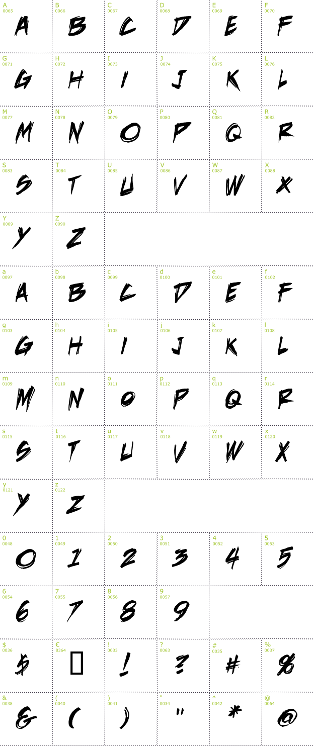 Character Mini-Map: DeathRattle BB font
