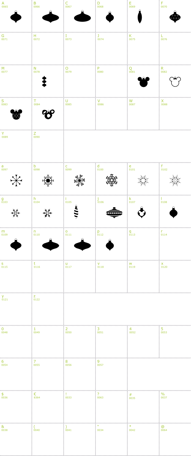 Character Mini-Map: Christmas Mouse font