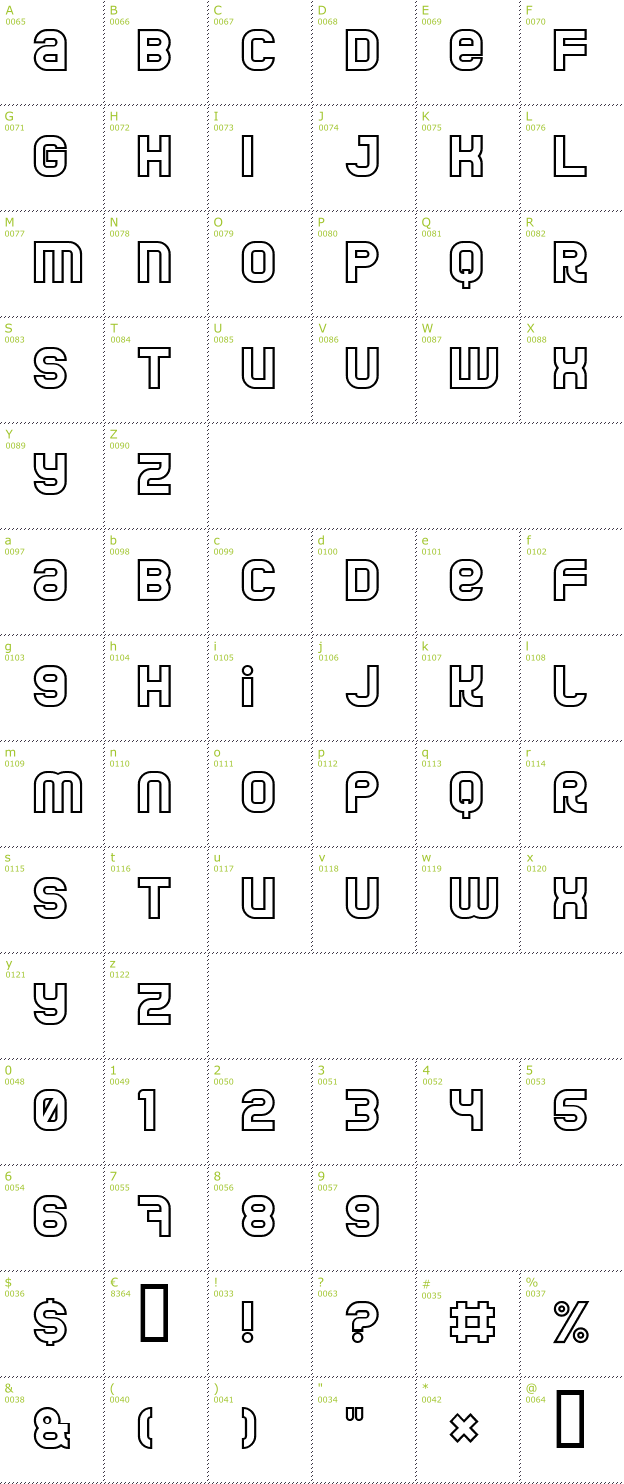 Character Mini-Map: Jumbo Outline font