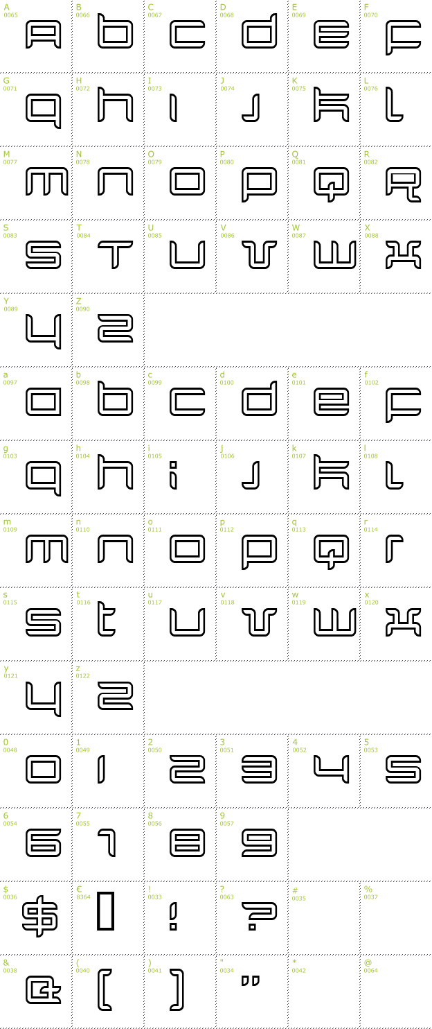 Character Mini-Map: Quarx Outline font