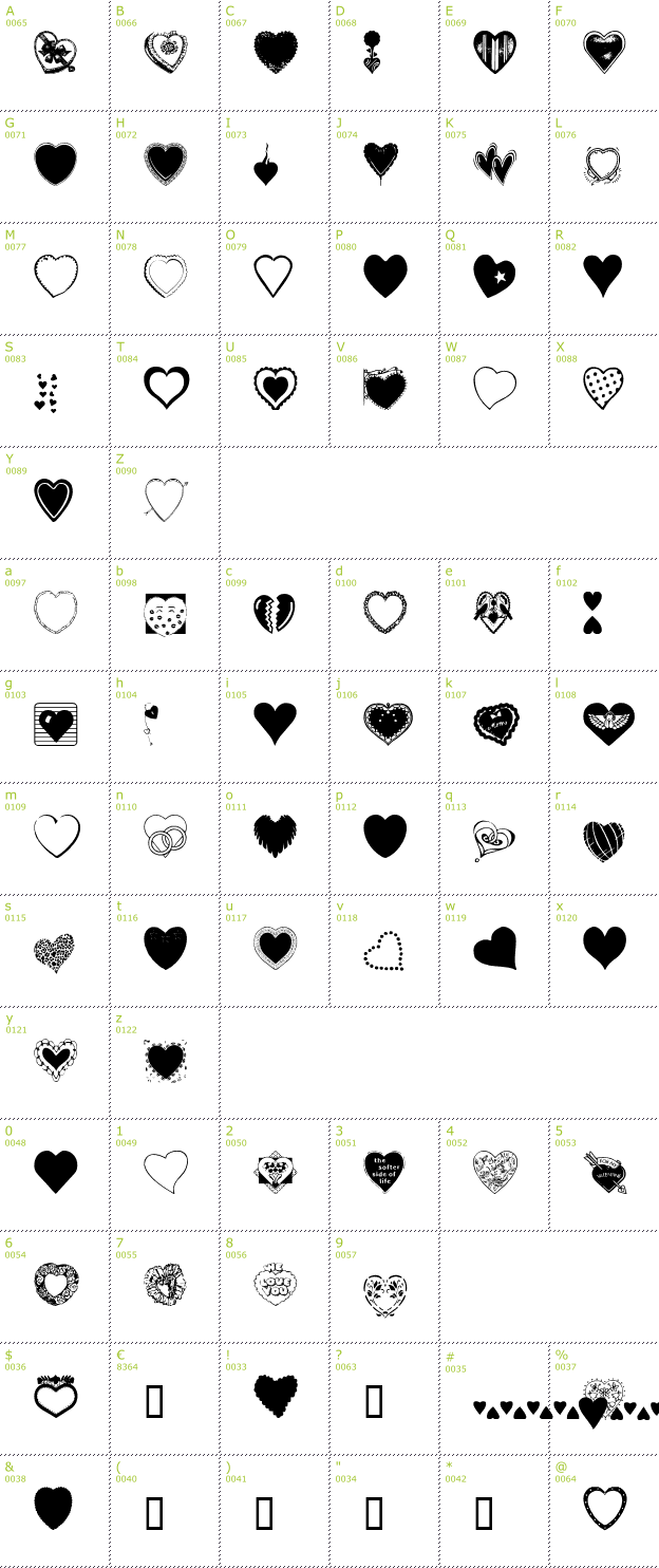 free hearts galore font download