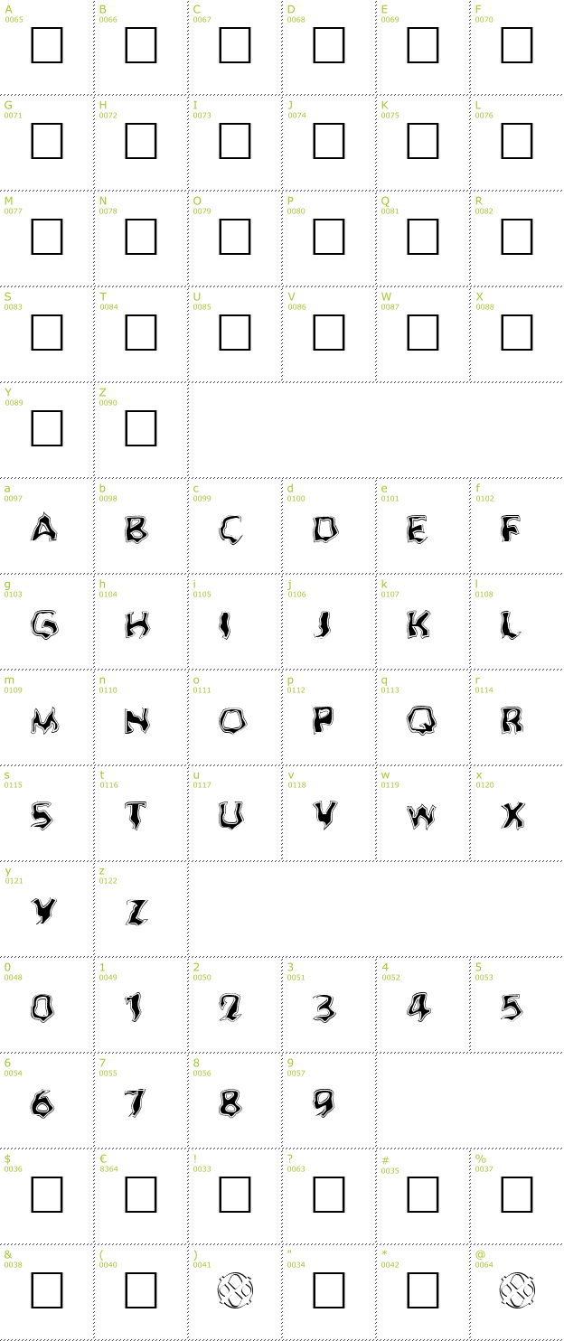 Character Mini-Map: Ghoul Outline Fill font