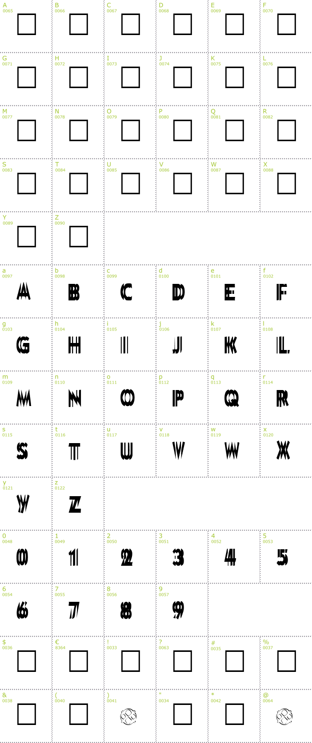 Character Mini-Map: DoubleVision font