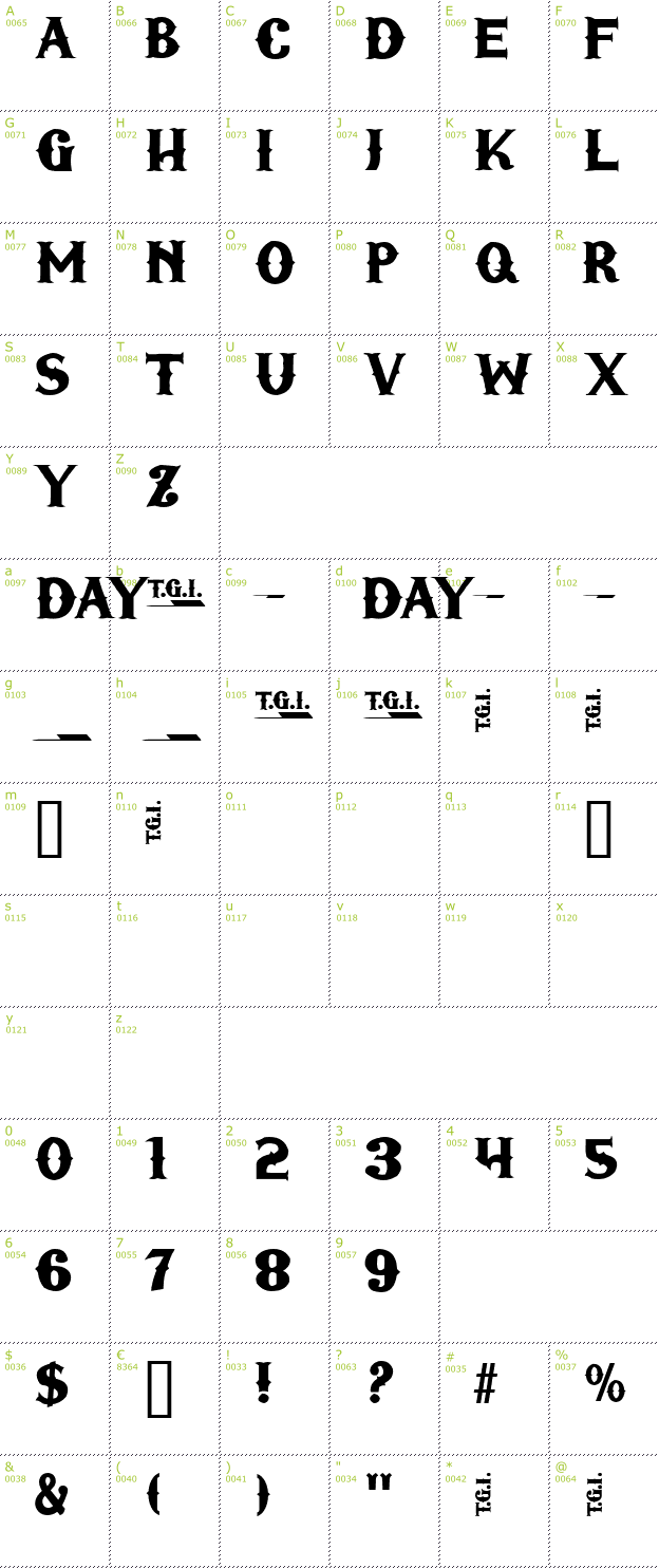 Character Mini-Map: TGI Friday font