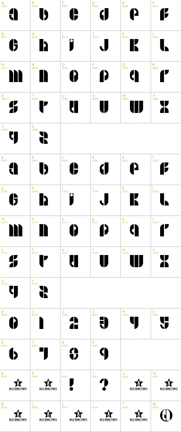 Character Mini-Map: B Side font