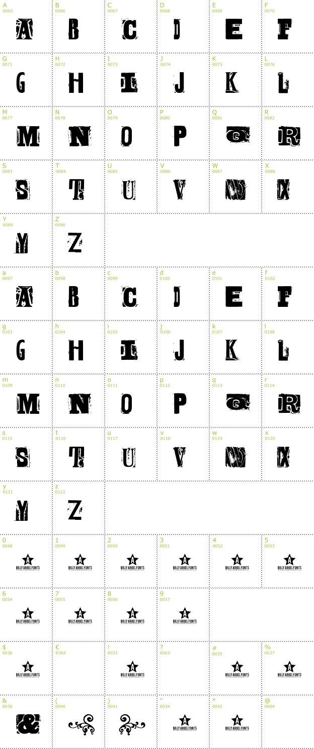 Character Mini-Map: Body Hunter font