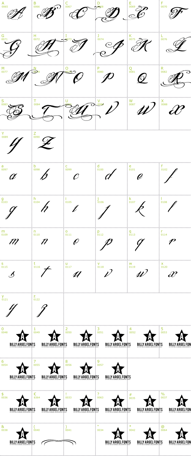 Character Mini-Map: Ink In The Meat font
