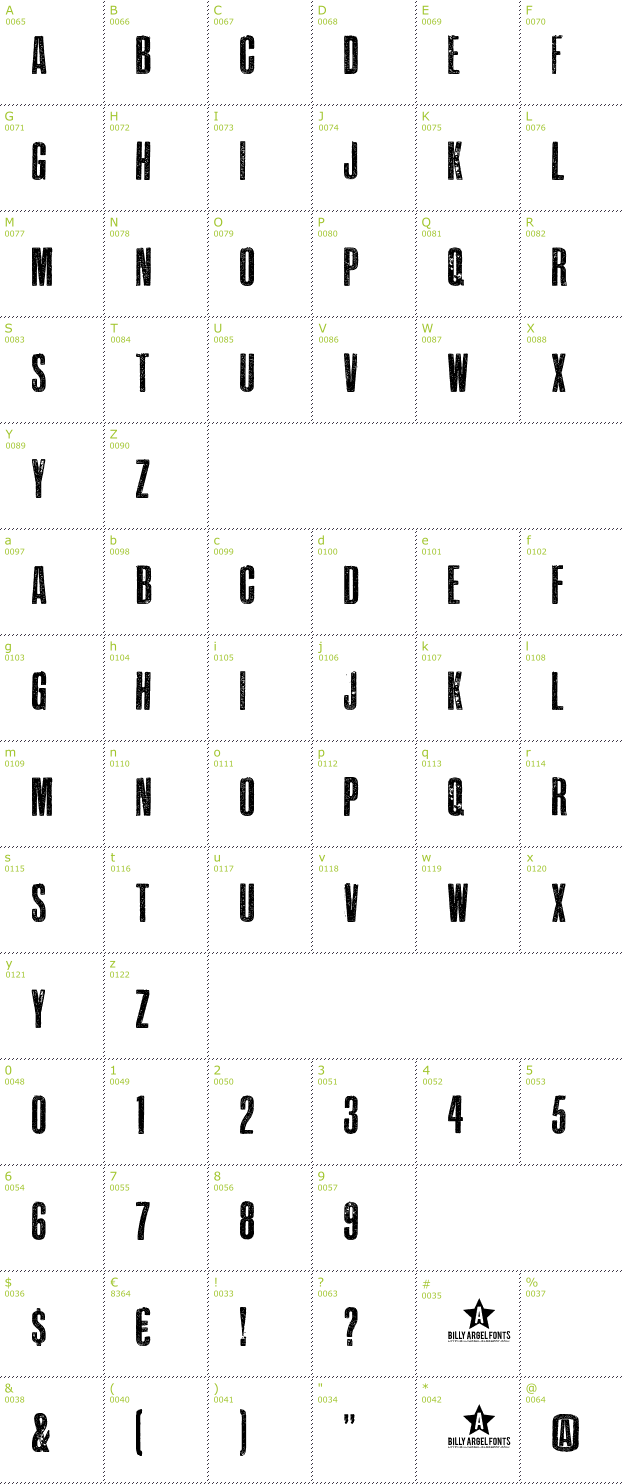 Character Mini-Map: Epidemia font