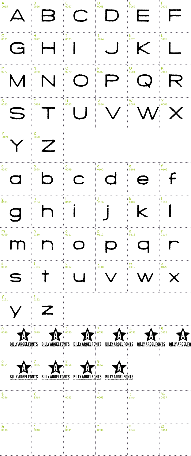 Character Mini-Map: Save The Mini font