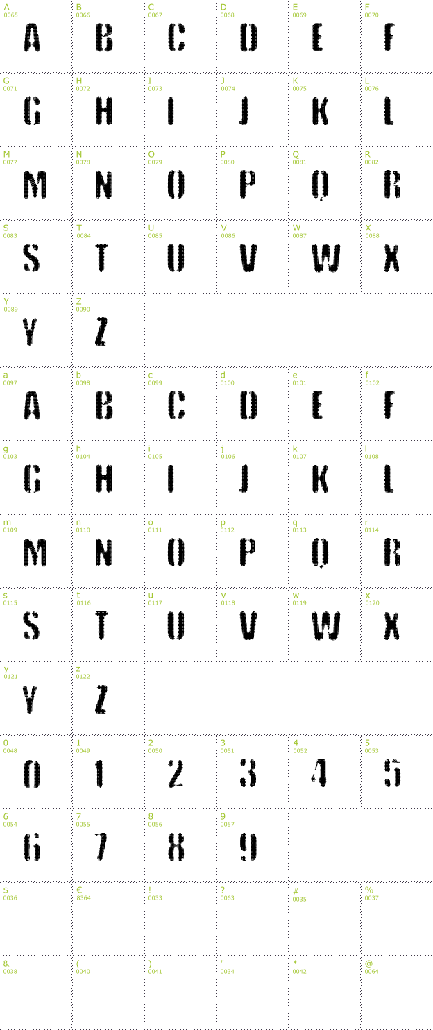 Character Mini-Map: VTKS Keystorm font