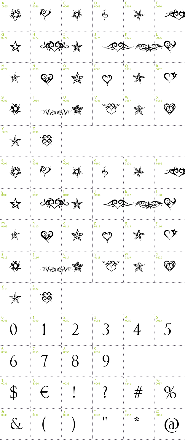 Character Mini-Map: Hearts and Stars font