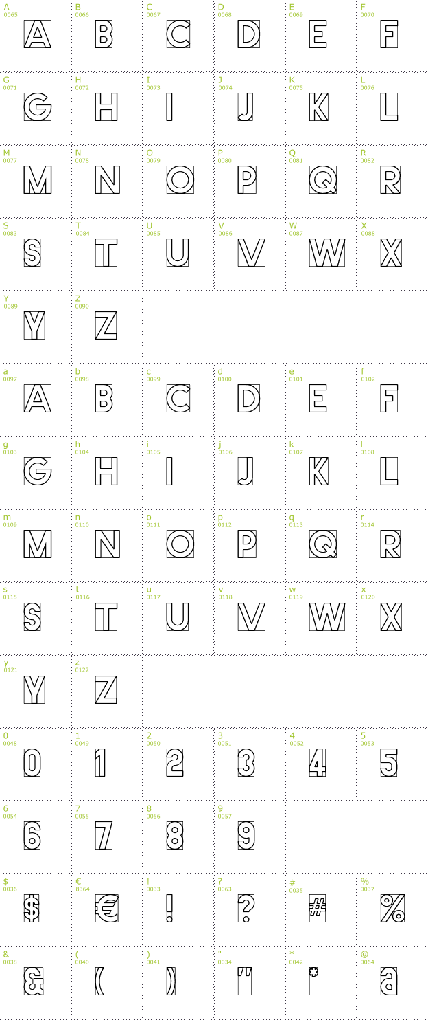 Character Mini-Map: Cut Me Out font