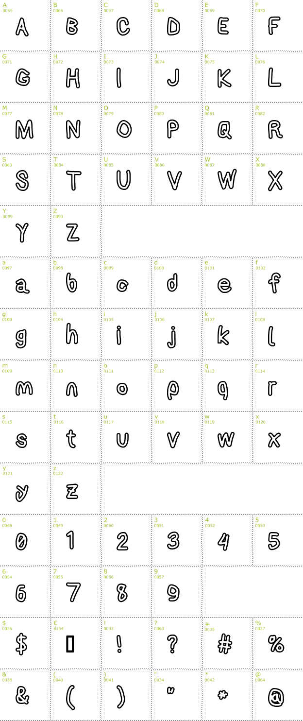 Character Mini-Map: AppleStorm Extra Bold Outline font