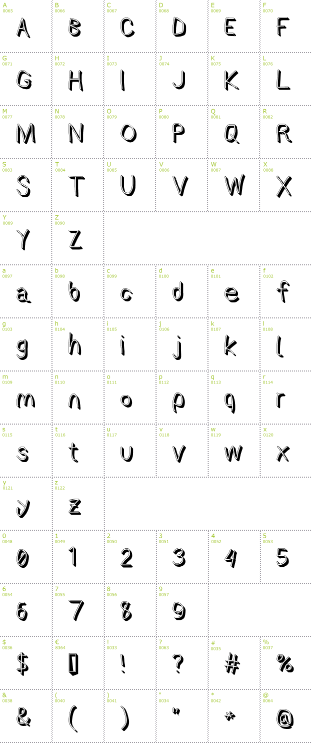 Character Mini-Map: AppleStorm Shadow font