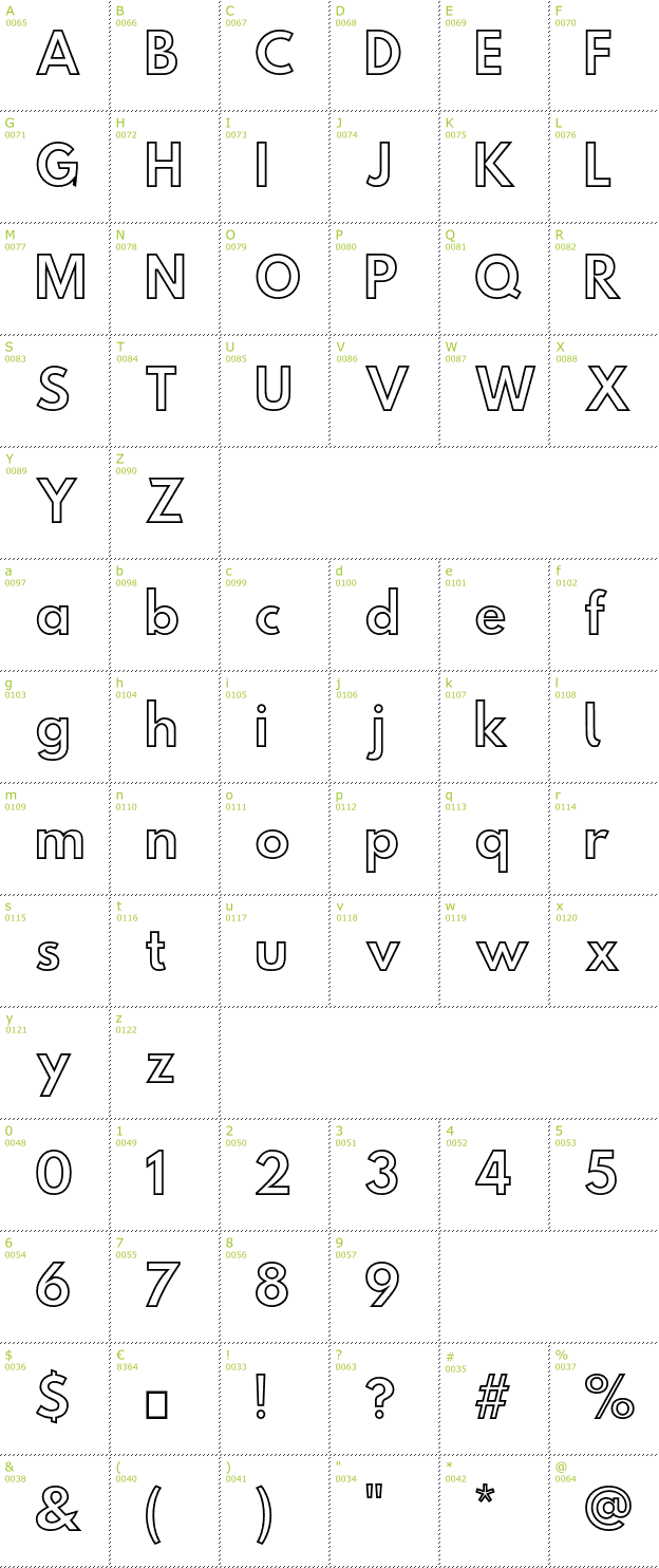 Character Mini-Map: Hussar Simple Ghost font