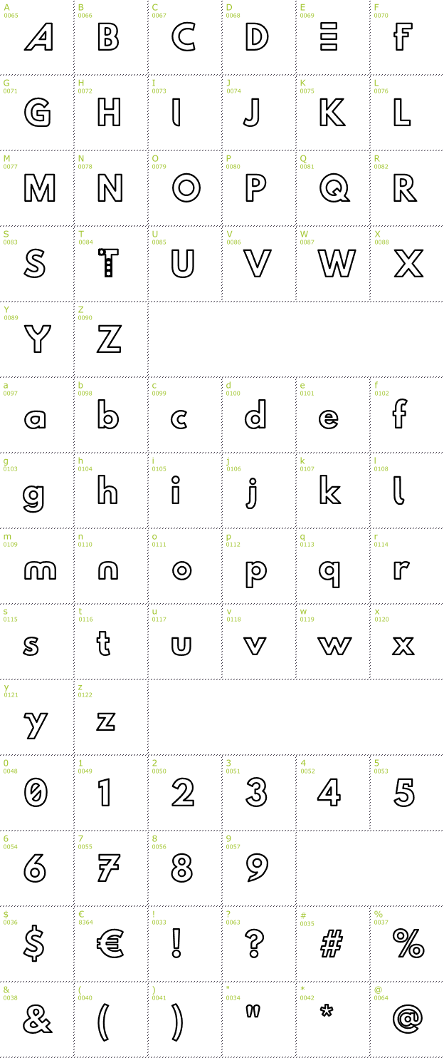 Character Mini-Map: Hussar Techniczny Outline font