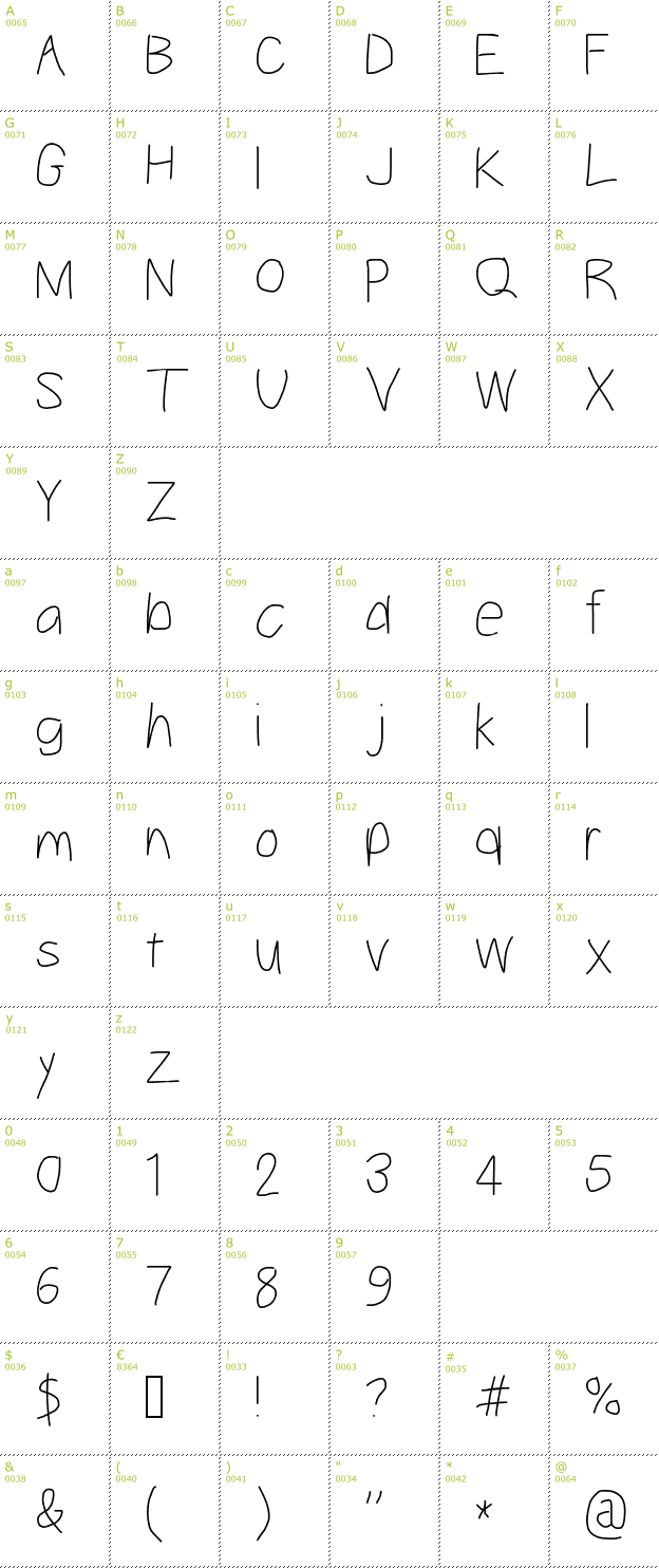 Character Mini-Map: Take Off font