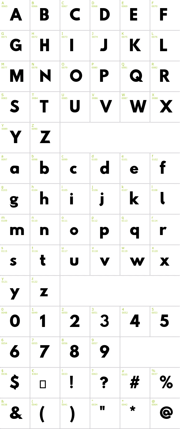 Character Mini-Map: Hussar Woodtype font